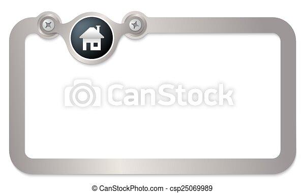 texte, encadrer icône, métal, maison - csp25069989