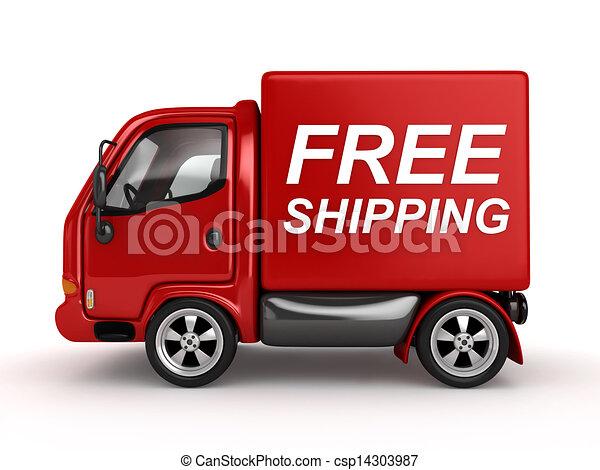 texte, gratuite, expédition, rouges, fourgon, 3d - csp14303987
