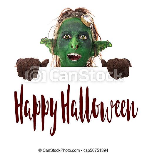 Texte Halloween Regarder Vert Rire Lutin Travers Heureux Texte Isolé Regarder Vert Rire Halloween Blanc Lutin Canstock