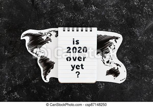 texte, note, encore, carte, covid-19, pandémie, virus, mondiale, suivant, sur, après, 2020, vie - csp87148250