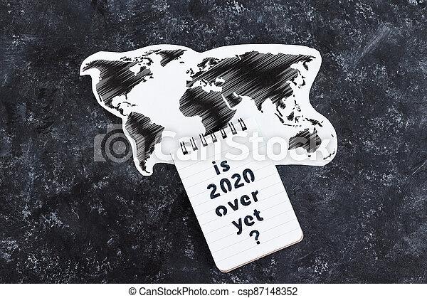 texte, note, encore, carte, covid-19, pandémie, virus, mondiale, suivant, sur, après, 2020, vie - csp87148352