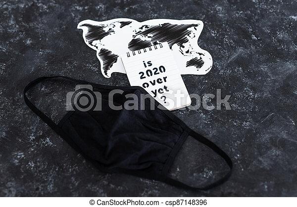 texte, note, encore, carte, covid-19, masque de protection, pandémie, virus, mondiale, suivant, sur, après, 2020, vie - csp87148396
