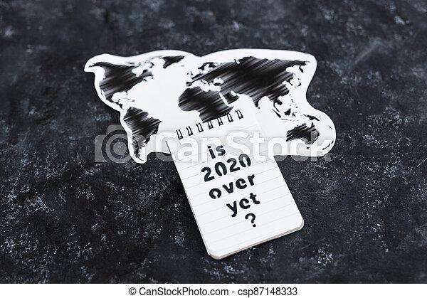 texte, note, encore, carte, covid-19, pandémie, virus, mondiale, suivant, sur, après, 2020, vie - csp87148333