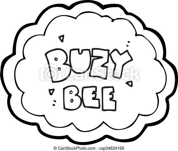 Texte Symbole Abeille Noir Buzy Blanc Dessin Animé