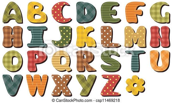 textil, álbum de recortes, alfabeto - csp11469218