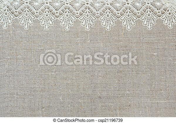 Textile Background Lace Border Over Burlap Stock Photos