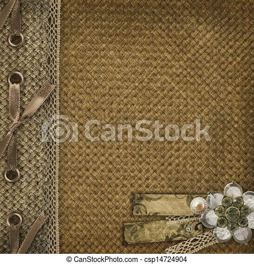 Textile cover for an album with photos  - csp14724904
