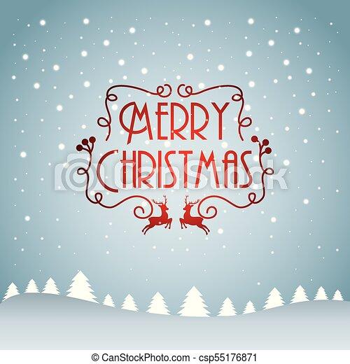Feliz Navidad árbol de nieve de pino cayendo decoración de texto - csp55176871