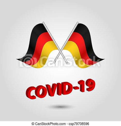 texto alemão, título, covid-19, vermelho, bandeiras, alemanha, jogo, waving, -, dois, 3d, ícone, prata, cruzado, vetorial, coronavirus, polaco - csp79708596