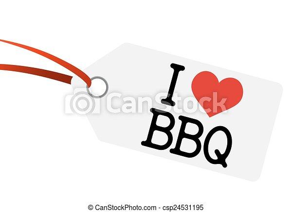 "Hangtag con texto ""I LOVE BBQ"" - csp24531195"