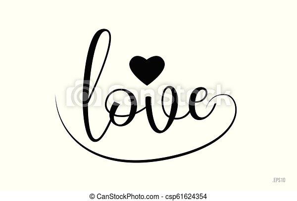 Un texto de tipografía de amor con corazón de amor - csp61624354