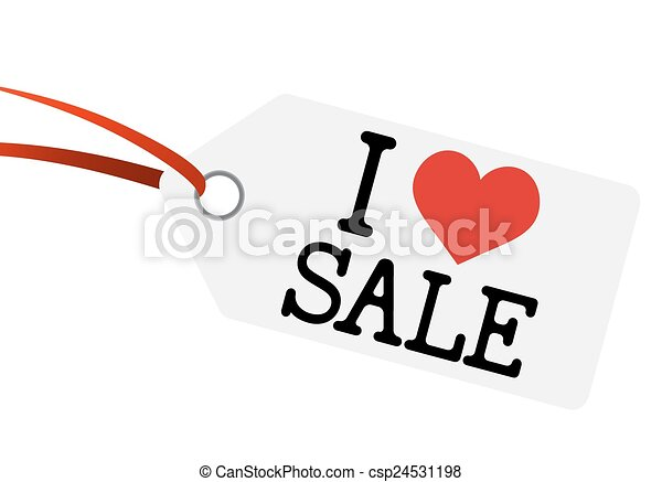 "Hangtag con texto ""I LOVE SALE"" - csp24531198"