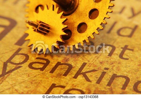 texto, antigas, engrenagem, operação bancária - csp13143368