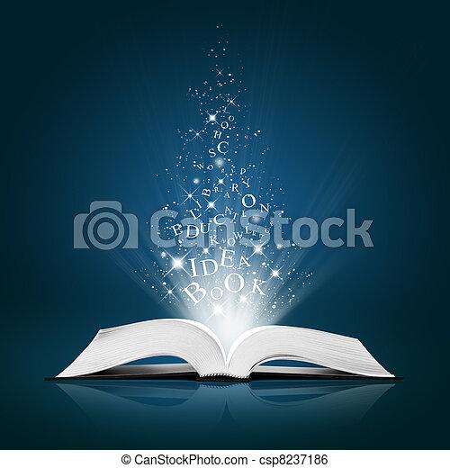 Una idea de texto sobre un libro blanco abierto - csp8237186