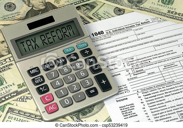 texto, calculadora, sinal, imposto, reform - csp53239419