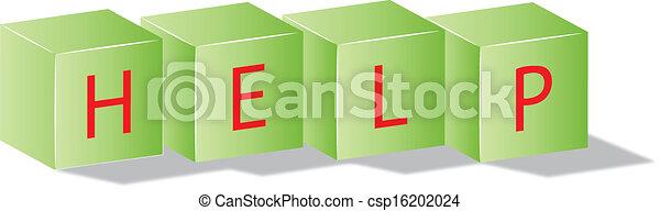 Cubos verdes con el texto de ayuda - csp16202024