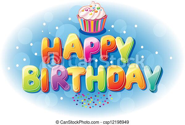 Un colorido mensaje de cumpleaños feliz - csp12198949