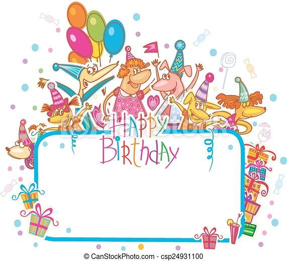 Templa para la tarjeta de cumpleaños feliz con lugar para el texto - csp24931100