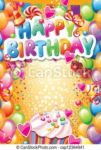 Templa para feliz tarjeta de cumpleaños con lugar para el texto - csp12364941