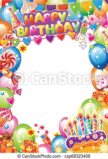 Tarjeta de cumpleaños con lugar para el texto - csp68323408