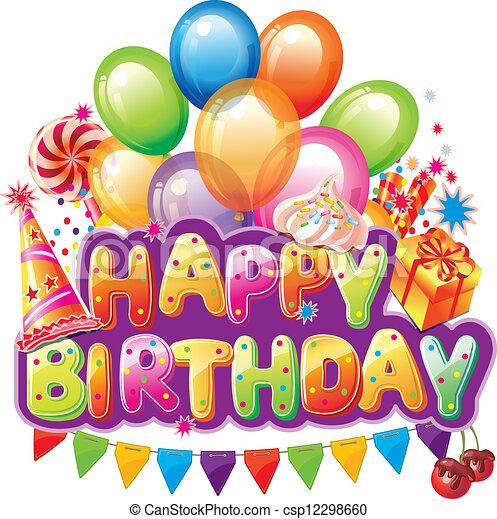 texto, feliz cumpleaños, fiesta, elemento - csp12298660