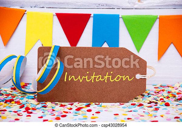 Texto Flámula Invitación Fiesta Etiqueta Marrón