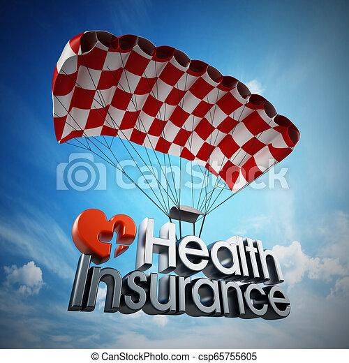 Aterrizaje de texto del seguro de salud con un paracaídas. Ilustración 3D - csp65755605