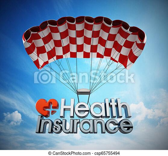 Aterrizaje de texto del seguro de salud con un paracaídas. Ilustración 3D - csp65755494