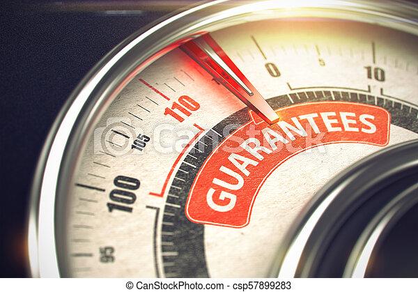 Garantías, texto en el indicador conceptual con aguja roja. 3D. - csp57899283