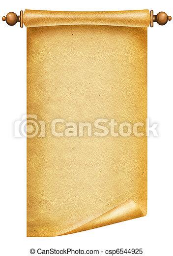 texto, papel, antigüidade velho, fundo, scroll, texture., branca - csp6544925