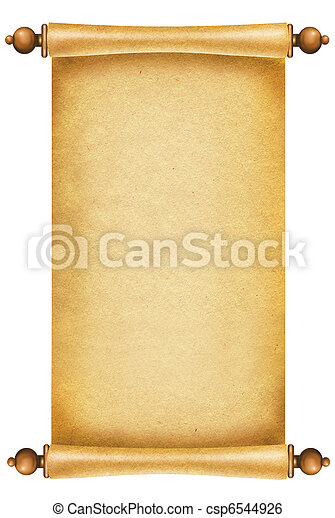 Vieja textura de papel. Pergamino de fondo anticoa para texto sobre blanco - csp6544926