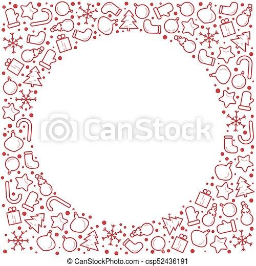 La ilustración del estandarte de Navidad de año nuevo. El ícono de la línea Vector del árbol de vacaciones de invierno, regalo, Santa Claus, carta, regalos, corona. La plantilla del círculo de celebración con lugar para el texto - csp52436191
