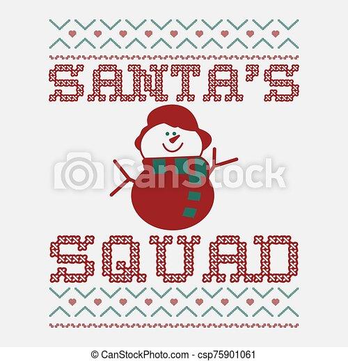 texto, t, impresión, snowman, santa, template., tee, navidad, vector, gráfico, feo, -, ornaments., camisa, diseño, divertido, feriado, fiesta., escuadra, suéter, tipografía, diversión, decoración, navidad, acción - csp75901061