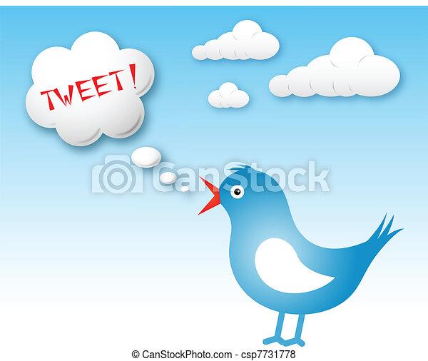 texto, twitter, tweet, nuvem, pássaro - csp7731778