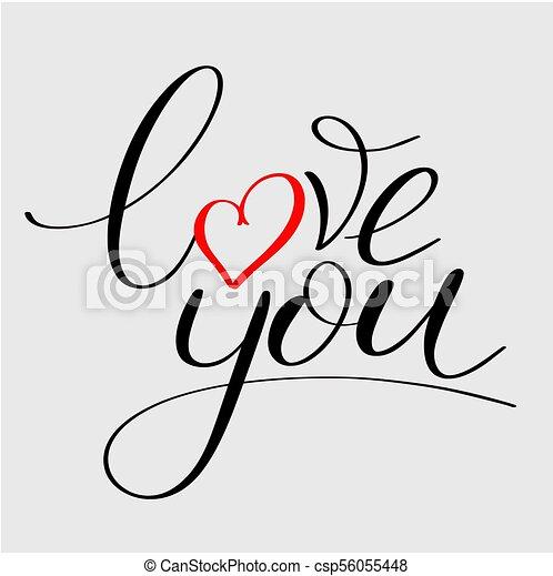 Te quiero con un mensaje de corazón - csp56055448