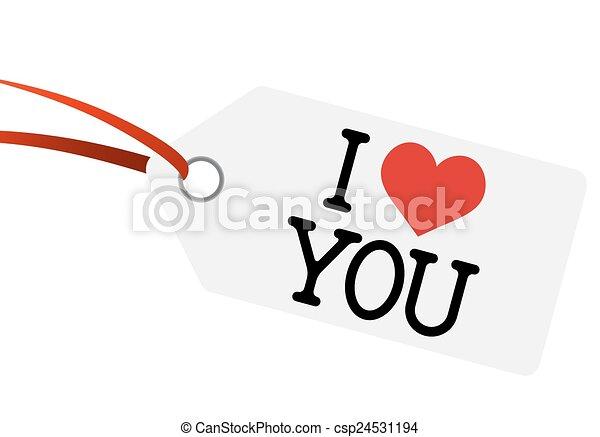 """Hangtag con texto """"Te amo"""" - csp24531194"""