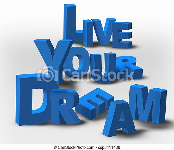 texto, viver, mensagem, inspiração, sonho, seu, 3d - csp8411438