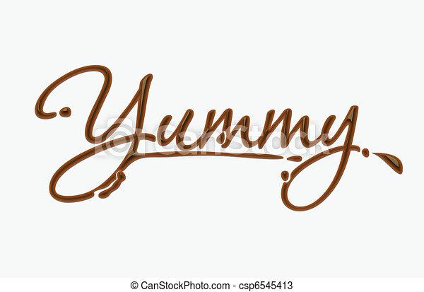 texto, yummy, chocolate - csp6545413