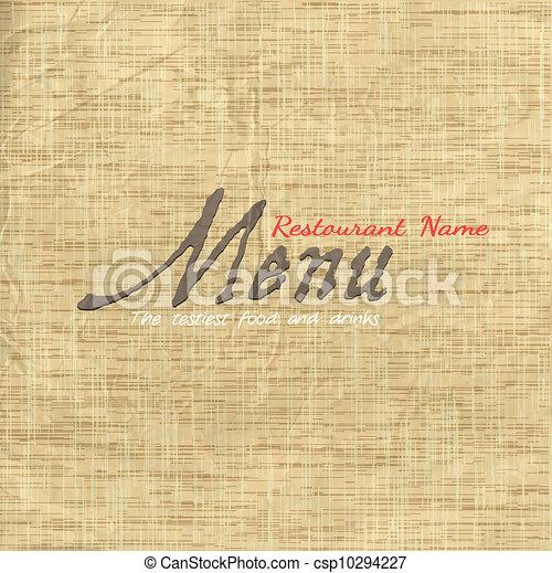 textura, cartão papel, antigas, menu, desenho - csp10294227