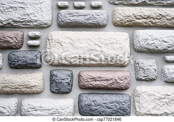 textura, multicolor, plano de fondo, ladrillos, piedra - csp77021846