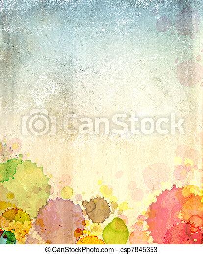 Papel viejo con manchas de pintura - csp7845353