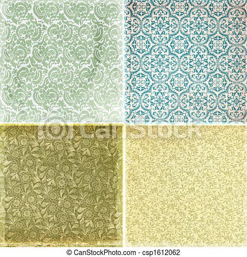 texturas, vindima, papel parede, cobrança, padrão - csp1612062