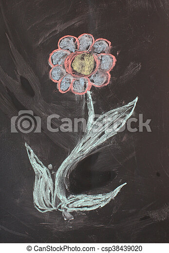 Texture, drawing with chalk on a blackboard black - csp38439020