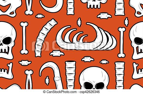 Texture., esqueleto, cráneo, fondo., mandíbula, ornament., pattern ...