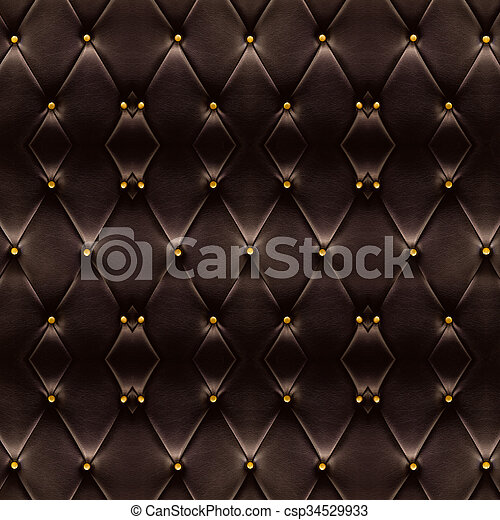 Texture Of Beautiful Dark Brown Leather Sofa With Golden