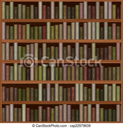 Texture Of Bookshelf Old Wooden With Books