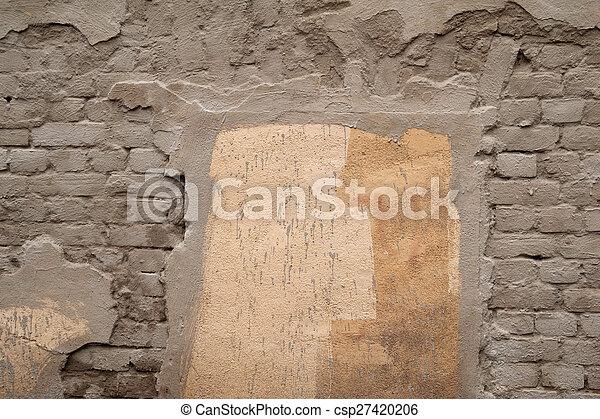 Texture of old gray brick wall - csp27420206