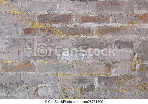 Texture of old red brick wall - csp28761600