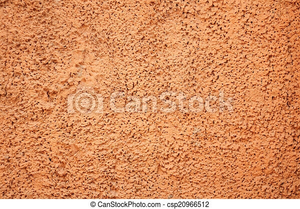 Texture of old wall with orange stucco - csp20966512