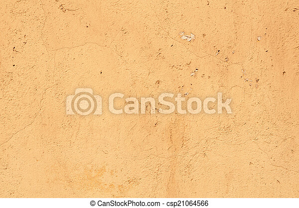Texture of old wall with yellow stucco - csp21064566